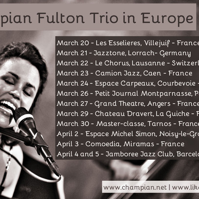 CHAMPIAN FULTON ON TOUR IN EUROPE | March 20th to April 5th