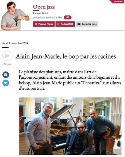 Alain Jean-Marie dans Open Jazz, France Musique