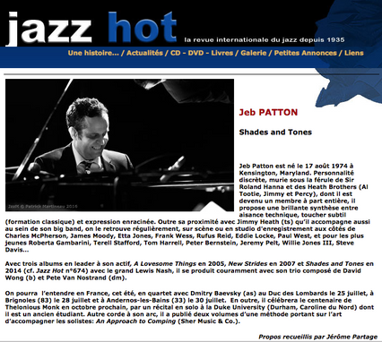 Jeb Patton interviewé dans JazzHot