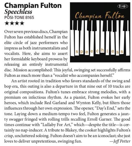 "4 STARS in DOWNBEAT for Champian Fulton's new album ""Speechless"""