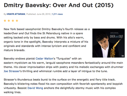 """DMITRY BAEVSKY - """"Over and Out"""" review in All About Jazz - July 2015"""