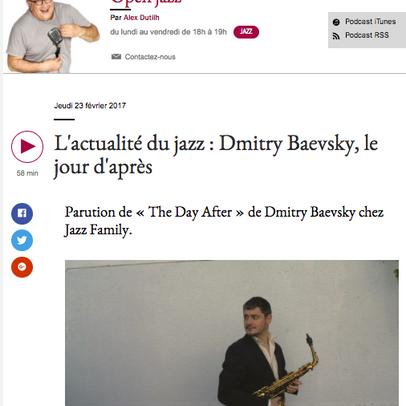"""ECOUTEZ LE """"OPEN JAZZ"""" (France Musique) DU 23 FEVRIER - INTERVIEW DE DMITRY PAR ALEX DUTIL"""