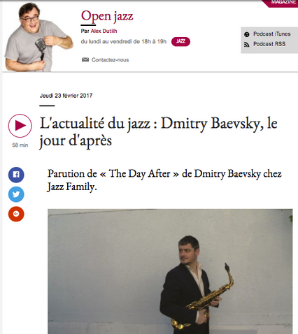 "ECOUTEZ LE ""OPEN JAZZ"" (France Musique) DU 23 FEVRIER - INTERVIEW DE DMITRY PAR ALEX DUTIL"