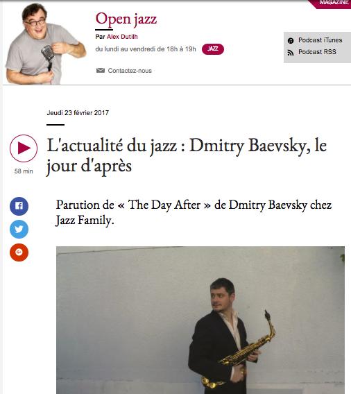 Dmitry Baevsky - Open Jazz sur France Musique