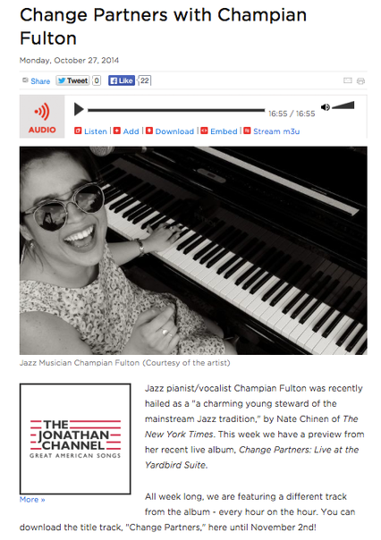 "CHAMPIAN FULTON'S INTERVIEW ON WNYC - ""Change Partners"" release"