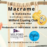 Milford Cruising Club 17 Nov Macrame workshop