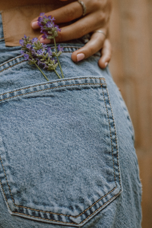 stock photo jeans with flower in back po