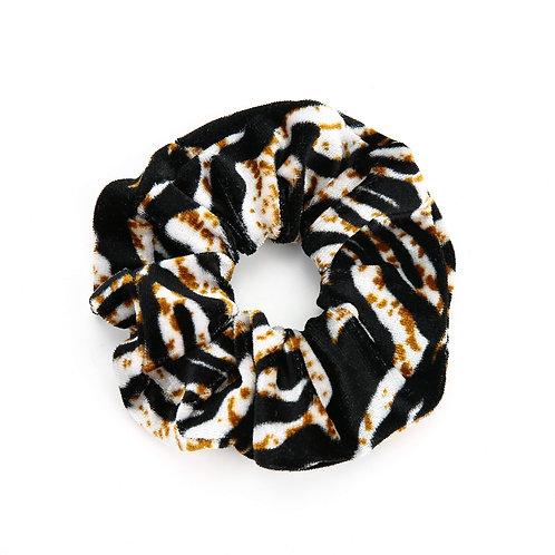 Velvet Zebra scrunchie