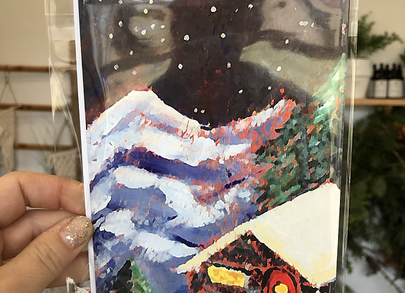Snowy Cabin Bird Girl Arts Card