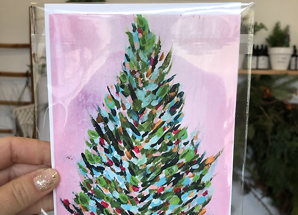 Pink Christmas Tree Bird Girl Arts Card