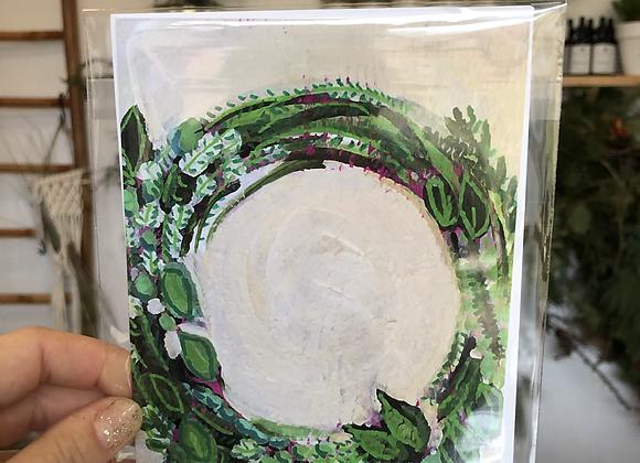 Merry Wreath Bird Girl Arts Card