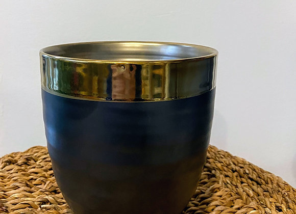 Steel Grey and Gold Pot