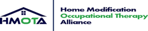 Logo Home Modification Occupational Therapy Alliance, and HMOTA in black writing except for Occupational Therapy which is green.