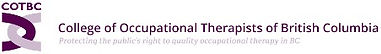 Logo for College of Occupational Therapists of British Columbia, interlocking U shapes of two shades of maroon