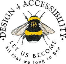 Logo - Design 4 Accessibility written across top as part of circle, lower part is Let us Become, All that we long to bee. Original design of bumblebee by Donna with her D F Initials on its back.