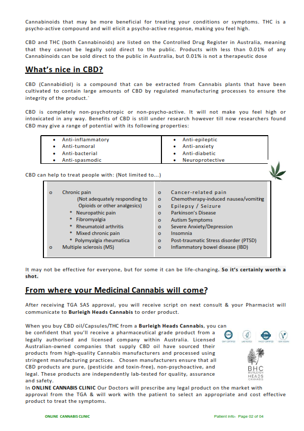Patient Info Sheet_Online Cannabis Clini