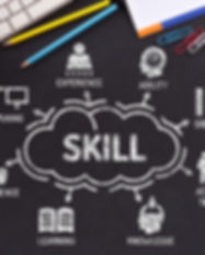 Skill. Chart with keywords and icons on