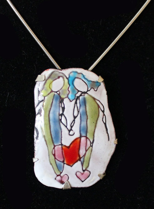 Pendant Enamel Sgraffito and Silver