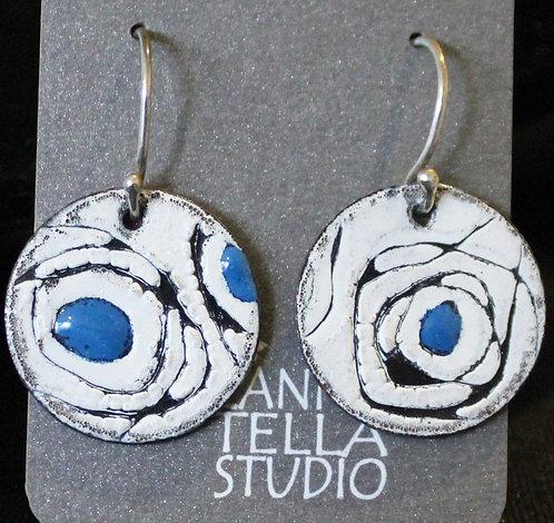 Earrings Enamel Sgraffito