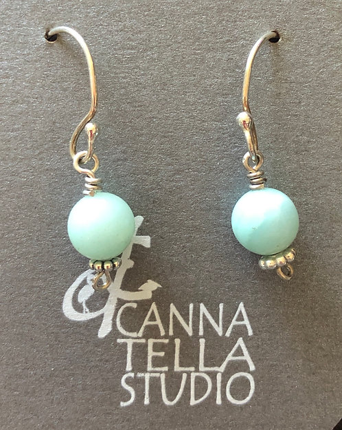 Earrings Glass Bead and Silver Dangles