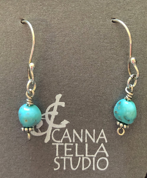 Earrings White Water Turquoise and Silver Dangles
