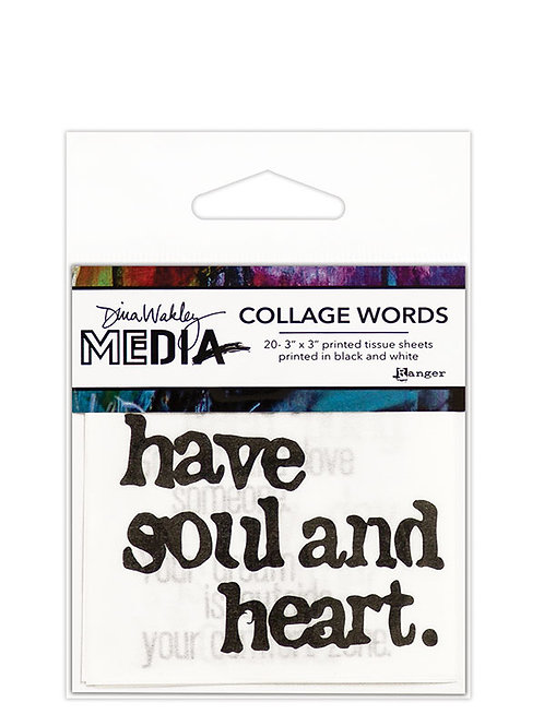 "Dina Wakley Mixed Media Collage Words Tissue Paper 20 - 3""x 3""Sheets"