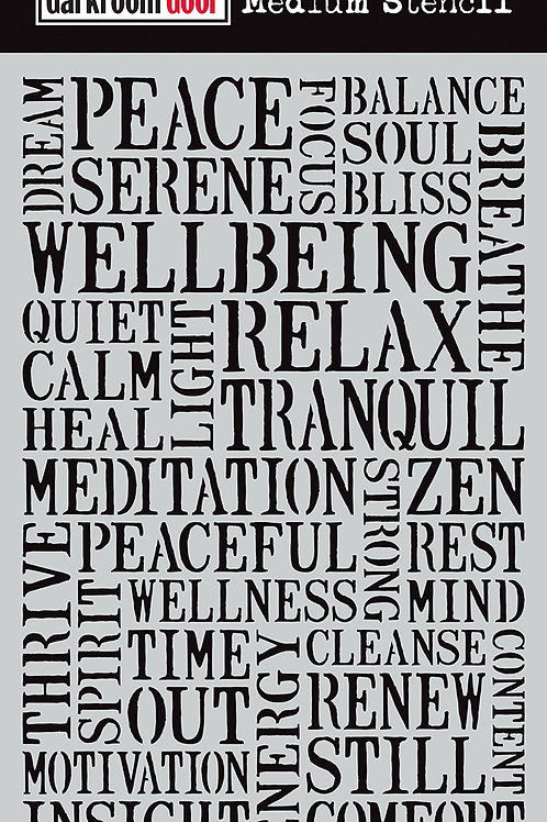 "Darkroom Door Large Stencil - 9x6 ""Wellbeing"""