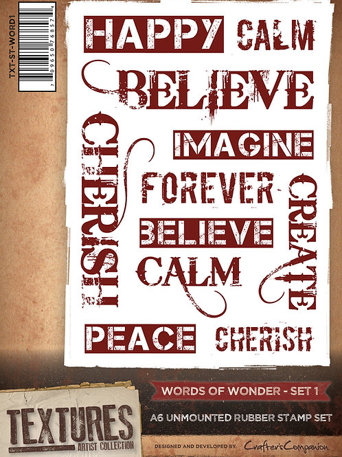 """""""Words of Wonder 1"""" Crafters Companion Unmounted Rubber Stamps"""