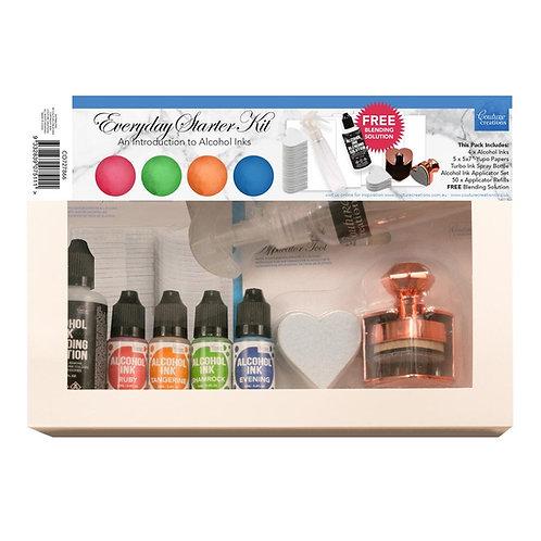 Alcohol Ink - Everyday Starter Kit - 4 inks, blending sol, applicator tool + mor
