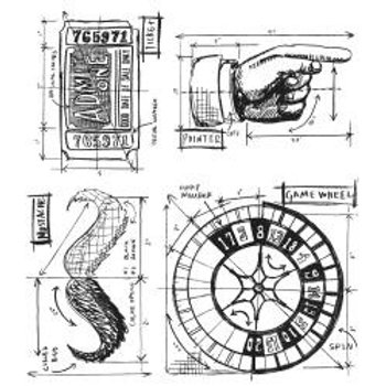 """""""Ringmaster Blue Print"""" Tim Holtz Cling Stamps 7""""X8.5"""" by Stampers Anonym"""