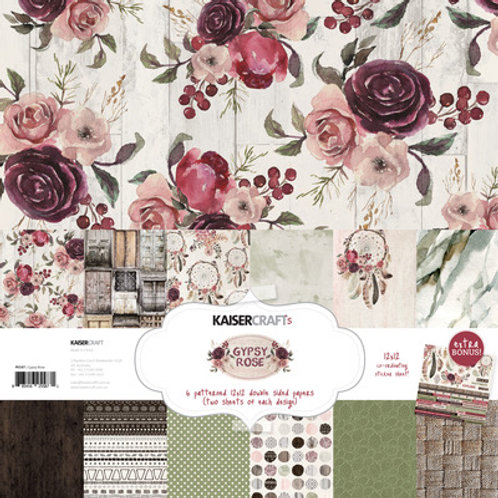"Kaisercraft 12x12 Paper Pack with Bonus Sticker Sheet ""Gypsy Rose """