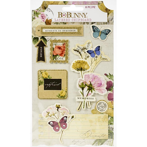 BoBunny Botanical Journal Adhesive Layered Chipboard 8/Pkg