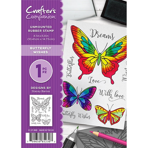 """Butterfly Wishes"" Crafters Companion Unmounted Rubber Stamps"