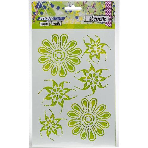 Studio Light Mixed Media A5 Stencil - Flowers