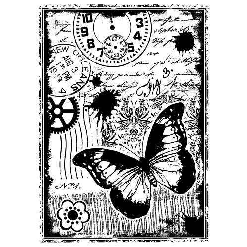 "Crafty Individuals Unmounted Rubber Stamp 4.75""X7"" Pkg ""Steampunk Butterfly"""