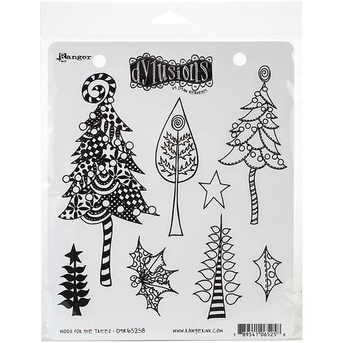 """Dyan Reaveley's Dylusions Cling Stamp  8.5""""X7"""" """"Wood for the Trees"""""""