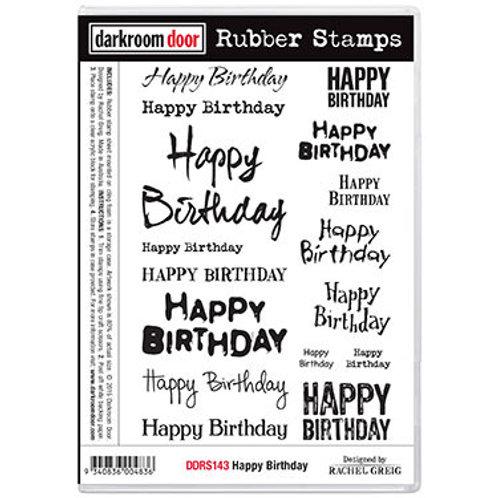 """Darkroom Door - """"Happy Birthday""""  Rubber Stamp"""