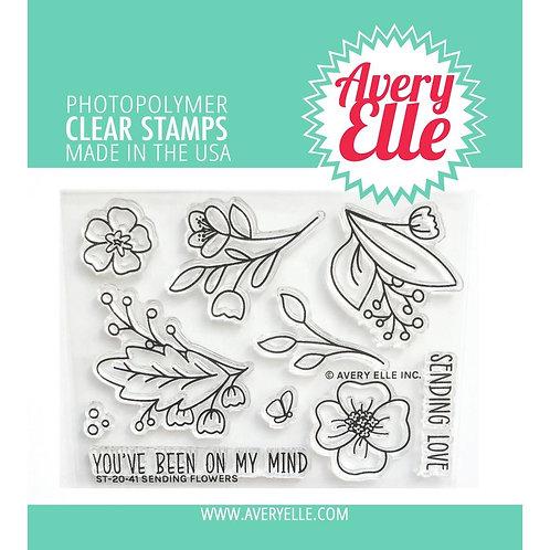 "Avery Elle Clear Stamp Set 4""X3"" Sending Flowers"