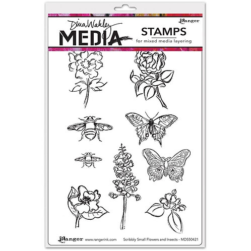"Dina Wakley Media Cling Rubber Stamps ""Scribbly Small Flowers & Insects"""""