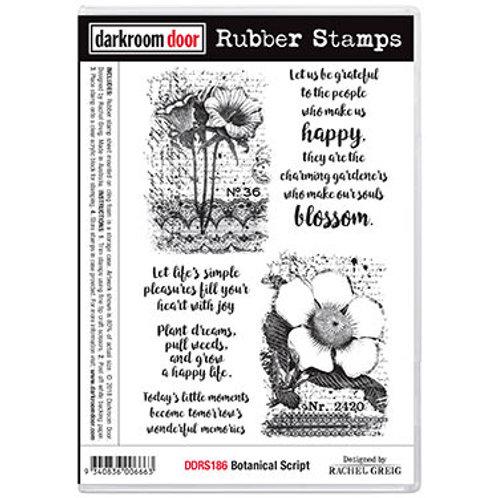 """Darkroom Door - """"Botanical Script""""  Rubber Stamp"""