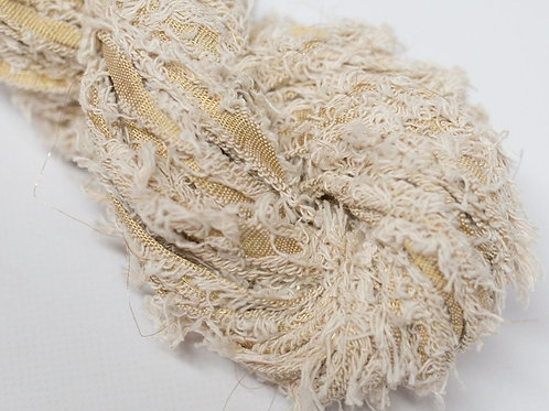5M Cotton Fritz Metalic Natural  Ribbon (5 Meters)