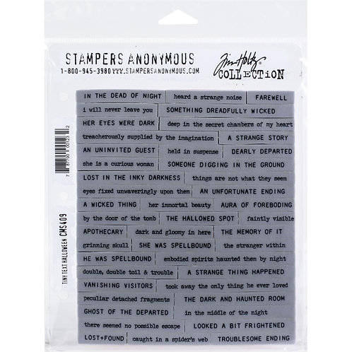 """Tiny Text Halloween"" Tim Holtz Cling Stamps 7""X8.5"" by Stampers Anonymous"