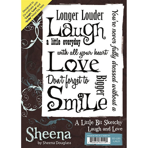 """A Little Bit Sketchy - Laugh & Love"" Sheena Douglass Unmounted Rubber Stamps"