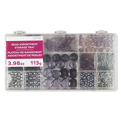 Blacks & Grey Bead Mix Assortment Tray 4.16 Ounce Pkg