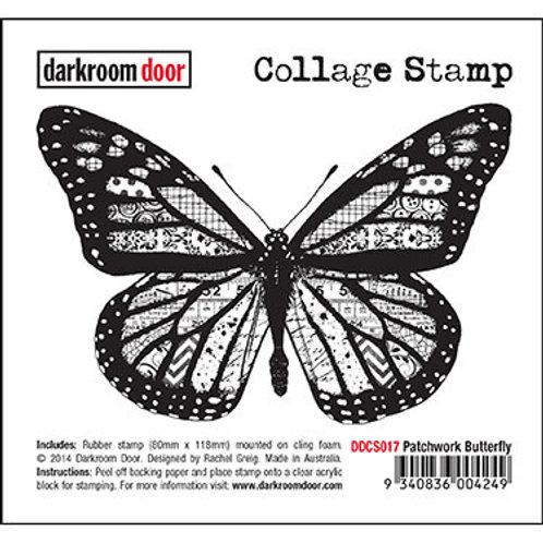 "Darkroom Door Collage Stamp - ""Patchwork Butterfly"""