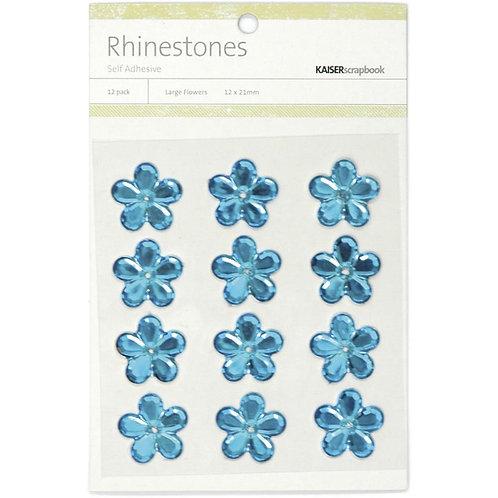 "KAISERCRAFT-Self-Adhesive Flower Rhinestones.12pcs ""Blue"""