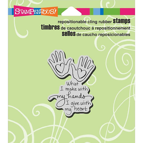 """""""Cling Heart Hand"""" Stampendous Cling Mount Rubber Stamps"""