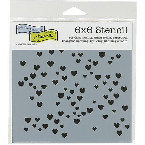 """TCW - 6x6 Stencil -  """"Micro Hearts"""""""