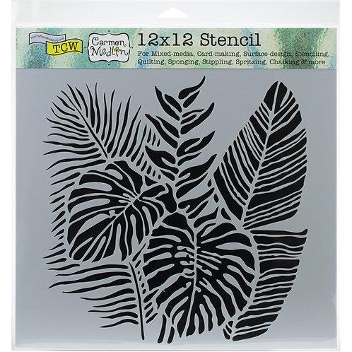 "TCW 12x12 Stencil ""Tropical Fronds"""
