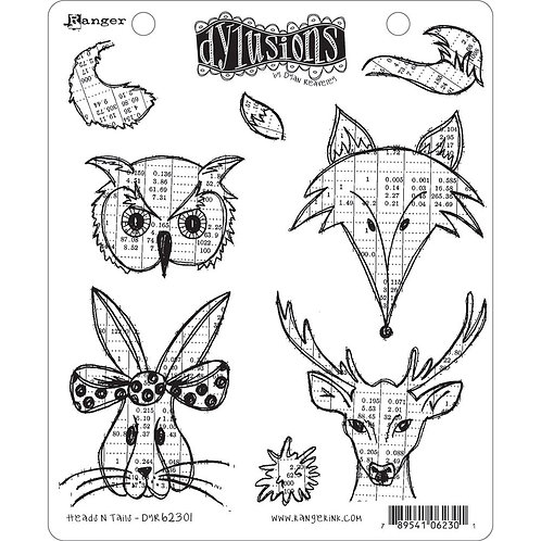 """Dylusions """"Heads N Tails"""" Cling Rubber Stamps"""